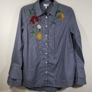 14th & Union Striped Floral Embroidered Button Up